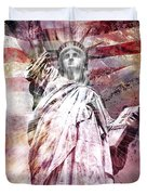 Modern Art Statue Of Liberty Red Duvet Cover by Melanie Viola