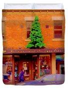 Moishes On The Main At Christmas Time Montreal Restaurant Winter City Scene Art Carole Spandau Duvet Cover by Carole Spandau