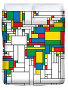 Mondrian World Map Duvet Cover by Gary Grayson