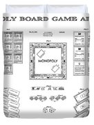 Monopoly Board Game Patent Art  1935 Duvet Cover by Daniel Hagerman