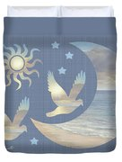 Moon And Stars Duvet Cover by Diane Romanello