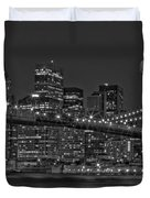 Moonrise Over The Brooklyn Bridge BW Duvet Cover by Susan Candelario