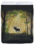Moose Magnificent Duvet Cover by Leslie Allen