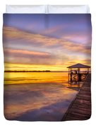 Morning Dock Duvet Cover by Debra and Dave Vanderlaan