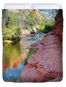 Morning Sun on Oak Creek - Slide Rock State Park Sedona Arizona Duvet Cover by Silvio Ligutti