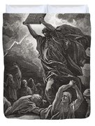 Moses Breaking the Tablets of the Law Duvet Cover by Gustave Dore