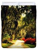 Moss on the Trees at Monks Corner in Charleston Duvet Cover by Susanne Van Hulst