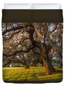 Mossy Trees At Sunset Duvet Cover by Debra and Dave Vanderlaan