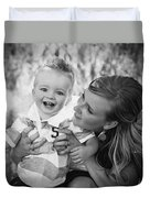 Mother And Son Laughing Together Duvet Cover by Daniel Sicolo