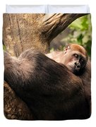 Mother And Youg Gorilla Sleeping In A Tree Duvet Cover by Chris Flees
