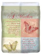Mother's Day Butterfly Card Duvet Cover by Debbie DeWitt