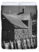 Motif Number One Bw Black And White Rockport Lobster Shack Maritime Duvet Cover by Jon Holiday
