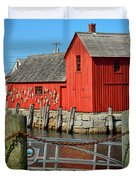 Motif Number One Rockport Lobster Shack Maritime Duvet Cover by Jon Holiday