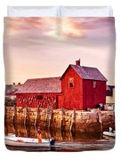Motif Number One Rockport Massachusetts Duvet Cover by Bob and Nadine Johnston