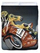Motorbike Racing Grunge Color Duvet Cover by Frank Ramspott