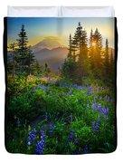 Mount Rainier Sunburst Duvet Cover by Inge Johnsson