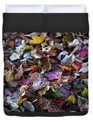 Multicolored Autumn Leaves Duvet Cover by Rona Black