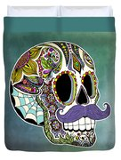 Mustache Sugar Skull Duvet Cover by Tammy Wetzel