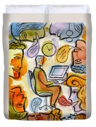 My Office Duvet Cover by Leon Zernitsky