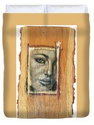 Mysterious Girl Face Portrait - Painting On The Wood Duvet Cover by Nenad Cerovic