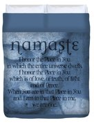 Namaste Blue Duvet Cover by Dan Sproul