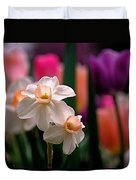 Narcissus and Tulips Duvet Cover by Rona Black