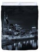 Nashville Skyline At Night Duvet Cover by Dan Sproul