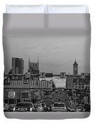 Nashville Skyline In Black And White Duvet Cover by Dan Sproul