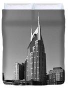 Nashville Tennessee Skyline Black And White Duvet Cover by Dan Sproul