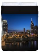 Nashville Tennessee With Pedestrian Bridge  Duvet Cover by John McGraw