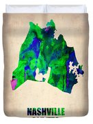 Nashville Watercolor Map Duvet Cover by Naxart Studio
