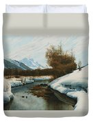 Near La Punt St Morritz In The Engadine Valley Duvet Cover by Peder Monsted