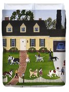 Neighborhood Dog Show Duvet Cover by Linda Mears
