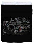 Neon Car Show Duvet Cover by Steve McKinzie