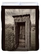 Nevada City Ghost Town Outhouse - Montana Duvet Cover by Daniel Hagerman