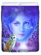 New Age Owl Girl Duvet Cover by Andrew Farley
