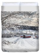 New England Winter Farms Square Duvet Cover by Bill Wakeley