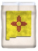 New Mexico Map Art With Flag Design Duvet Cover by World Art Prints And Designs