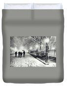New York City - Winter - Snow At Night Duvet Cover by Vivienne Gucwa