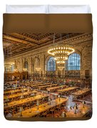New York Public Library Main Reading Room Ix Duvet Cover by Clarence Holmes