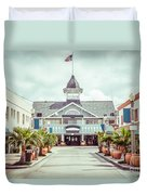 Newport Beach Balboa Main Street Vintage Picture Duvet Cover by Paul Velgos