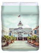 Newport Beach Balboa Main Street Vintage Picture Duvet Cover by Paul Velgos