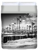 Newport Beach Dory Fishing Fleet Black And White Picture Duvet Cover by Paul Velgos