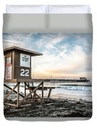 Newport Beach Pier And Lifeguard Tower 22 Photo Duvet Cover by Paul Velgos