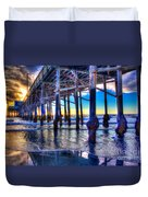 Newport Beach Pier - Low Tide Duvet Cover by Jim Carrell