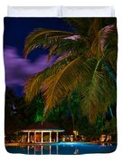 Night at Tropical Resort Duvet Cover by Jenny Rainbow