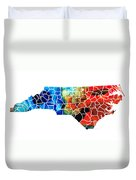 North Carolina - Colorful Wall Map By Sharon Cummings Duvet Cover by Sharon Cummings