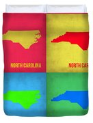 North Carolina Pop Art Map 1 Duvet Cover by Naxart Studio