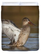 Northern Shoveler Hen Wing Flap Duvet Cover by Bryan Keil