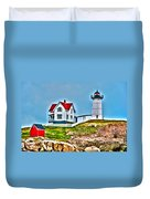 Nubble Lighthouse Cape Neddick Maine 2 Duvet Cover by Glenn Gordon